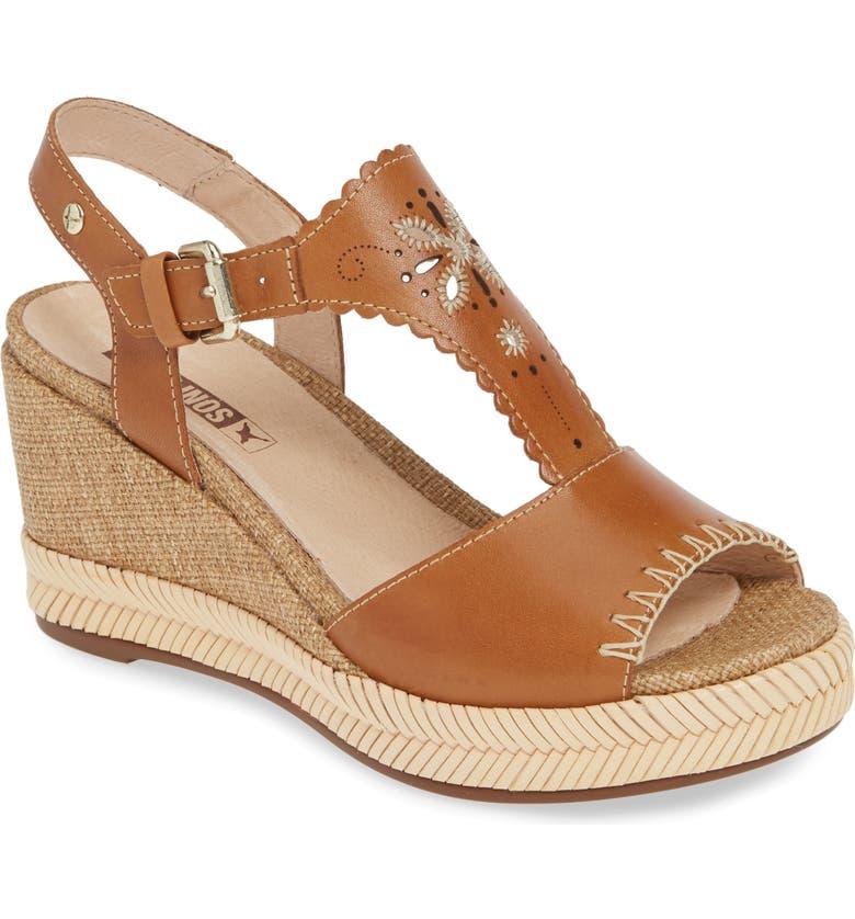 PIKOLINOS Mojacar Scalloped Wedge Sandal, Main, color, BRANDY LEATHER
