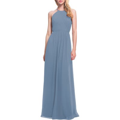 #levkoff Open Back Halter Neck Chiffon Gown, Grey