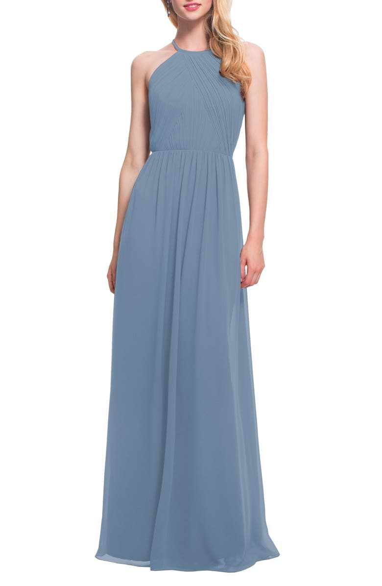 #LEVKOFF Open Back Halter Neck Chiffon Gown, Main, color, SLATE