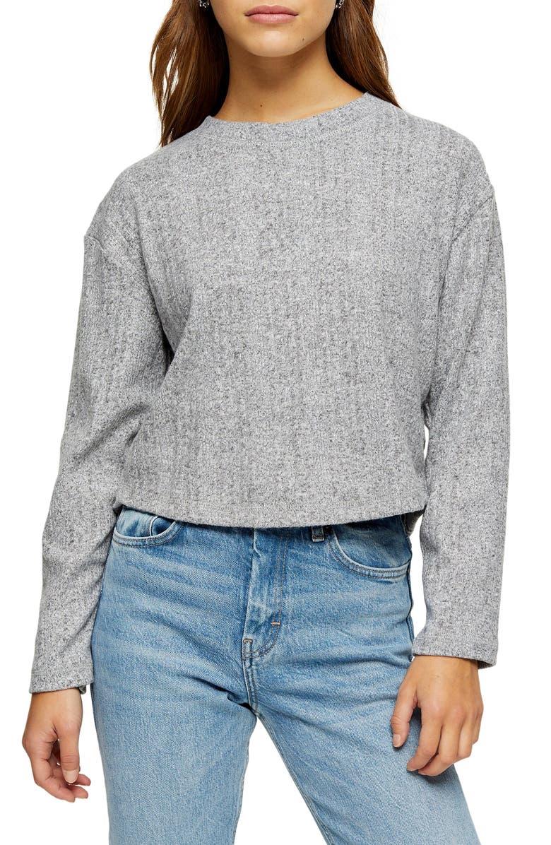TOPSHOP Split Back Cut & Sew Sweater, Main, color, GREY MARL