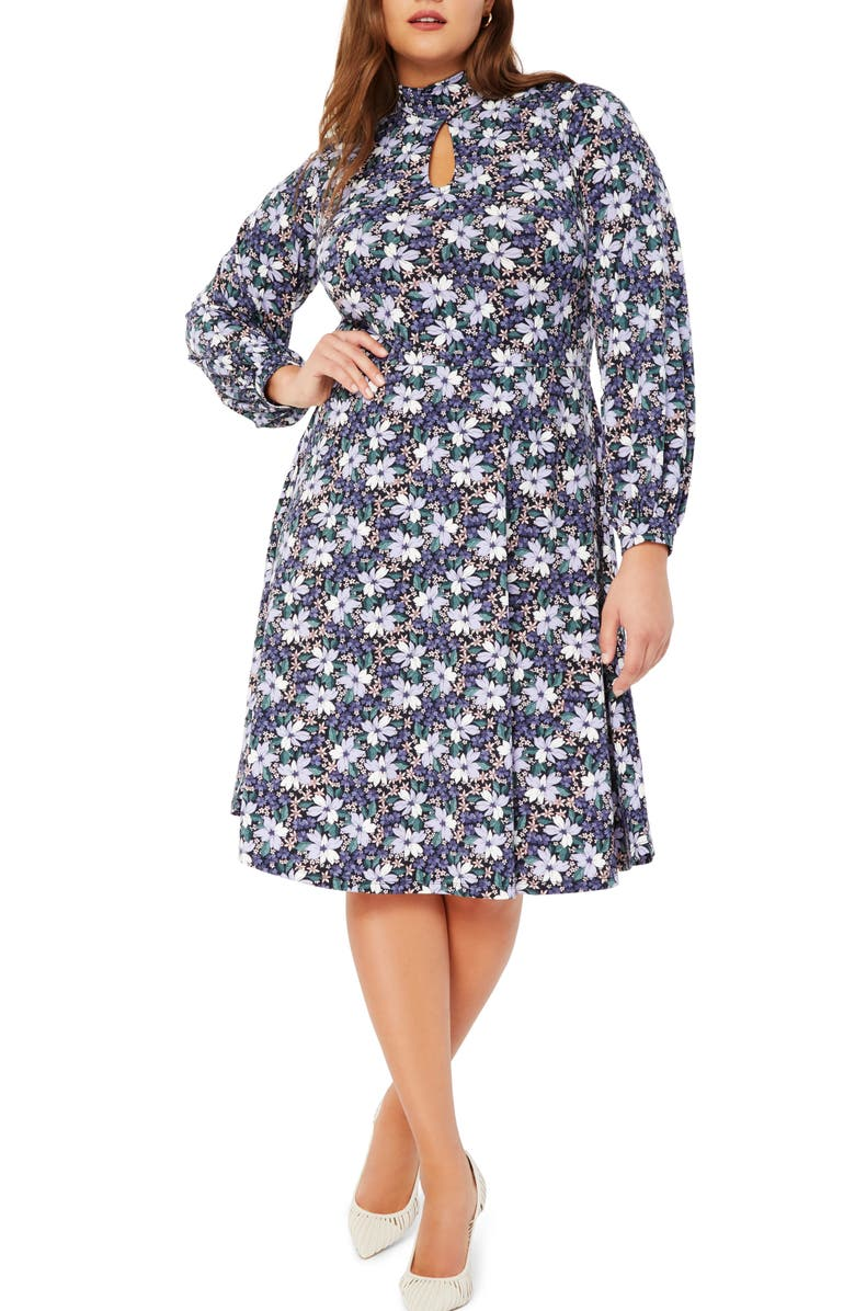 ELOQUII Floral Keyhole Detail Long Sleeve Fit & Flare Dress, Main, color, VIOLETTA VISIONS