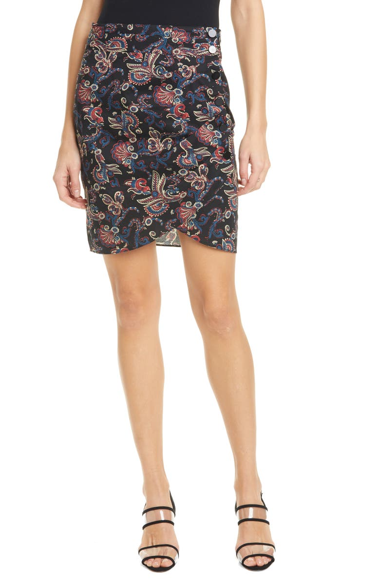 BA&SH Roster Paisley Print Tulip Skirt, Main, color, BLACK