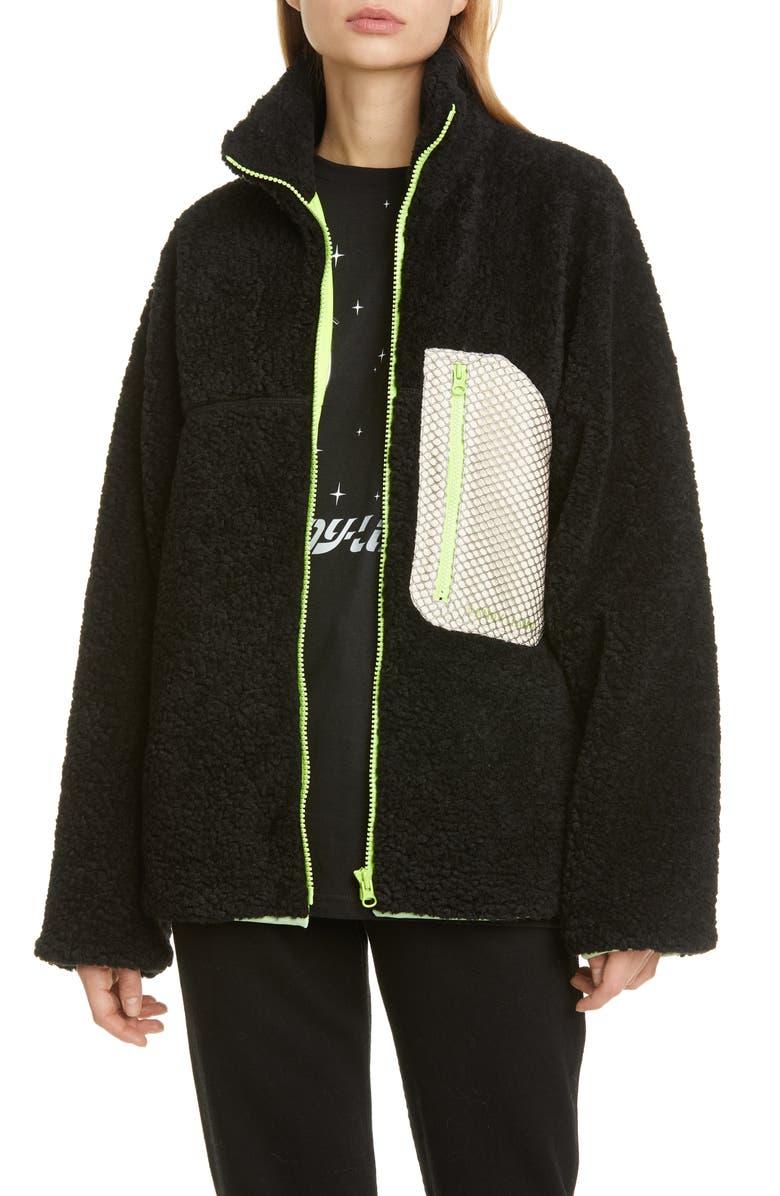 SANDY LIANG Barn Mesh Pocket Fleece Jacket, Main, color, BLACK