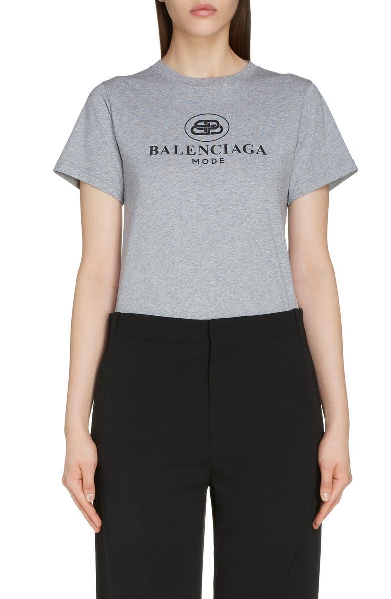 BALENCIAGA Interlocking BB Mode Logo Tee, Main, color, HEATHER GREY