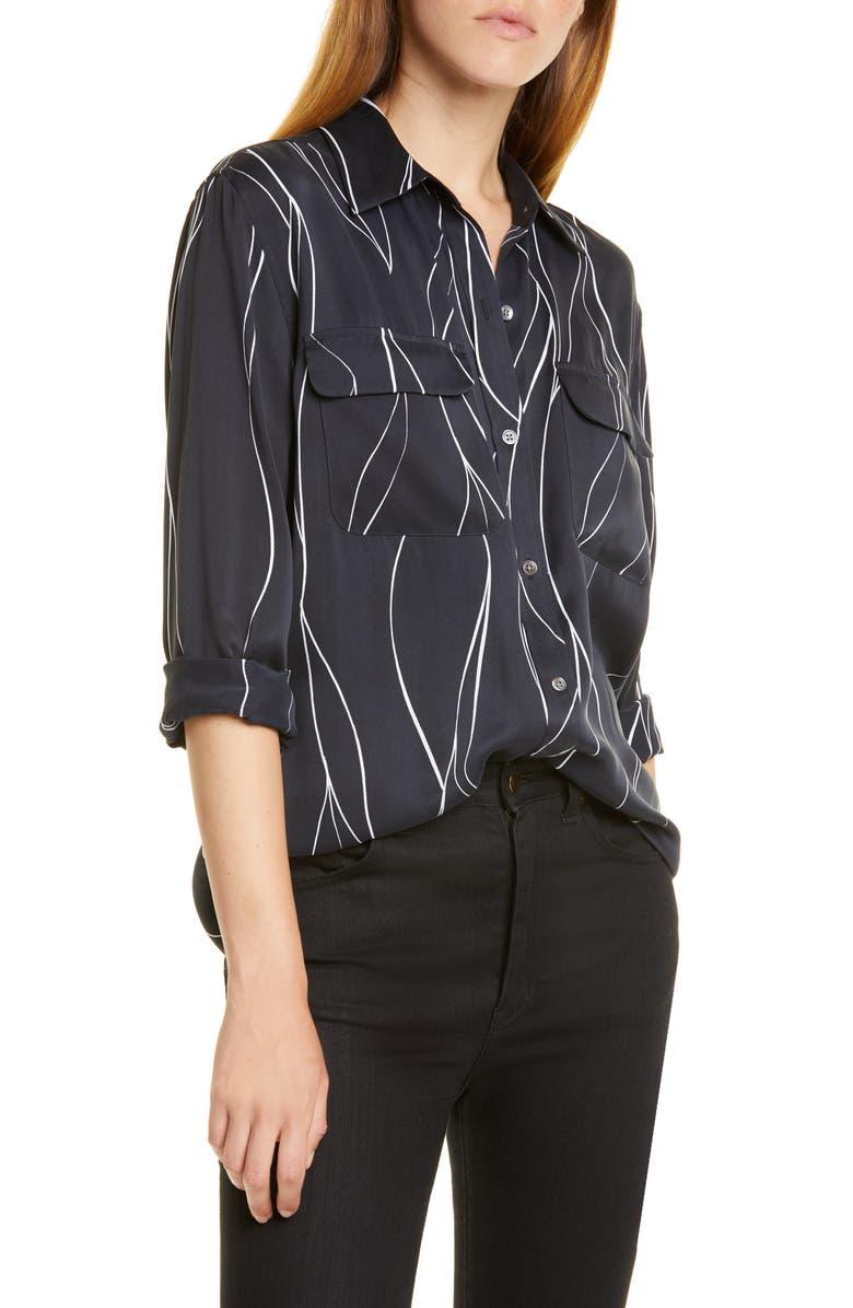 EQUIPMENT Slim Signature Print Silk Blend Shirt, Main, color, 100