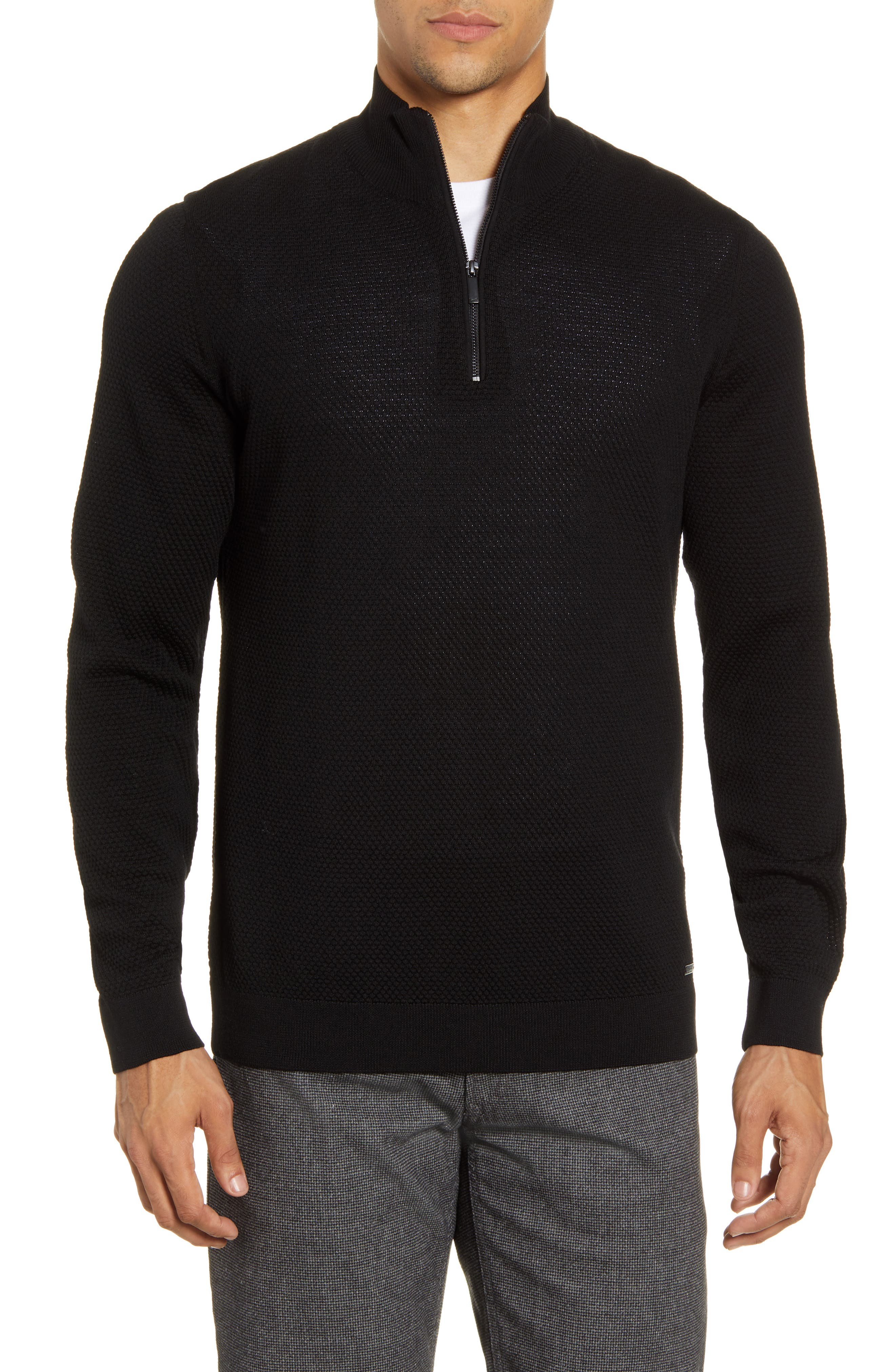 Image of Brax Steffen Quarter Zip Wool Pullover