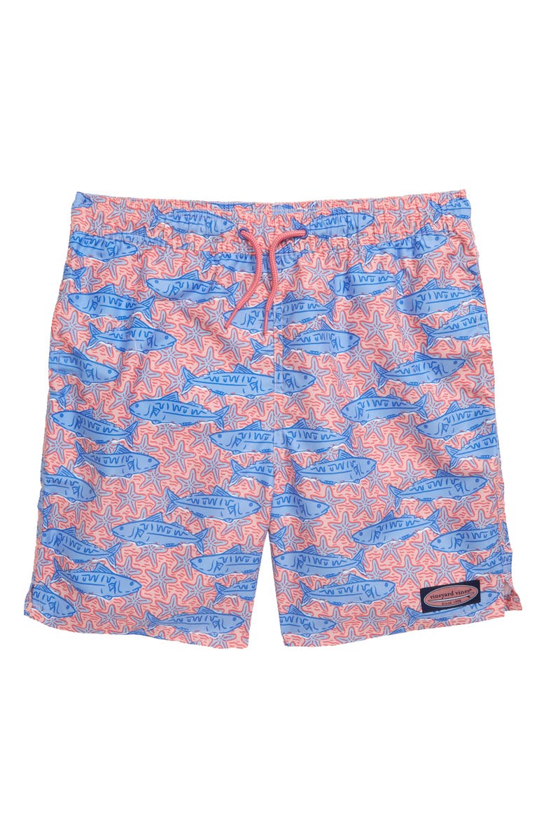 VINEYARD VINES Fish Stars Chappy Swim Trunks, Main, color, PINK SAND