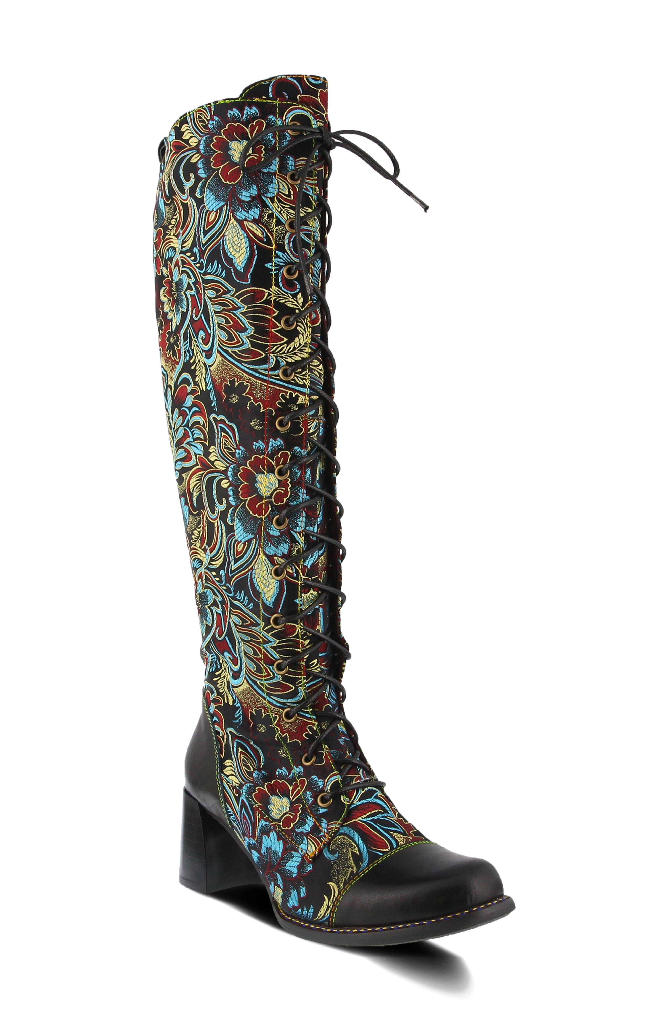 A boot this beautifully crafted is a rarity- it\\\'s made from floral jacquard with hand-painted leather trim and rainbow stitching for added richness. Style Name:L\\\'Artiste Rarity Knee High Boot (Women). Style Number: 6117450. Available in stores.