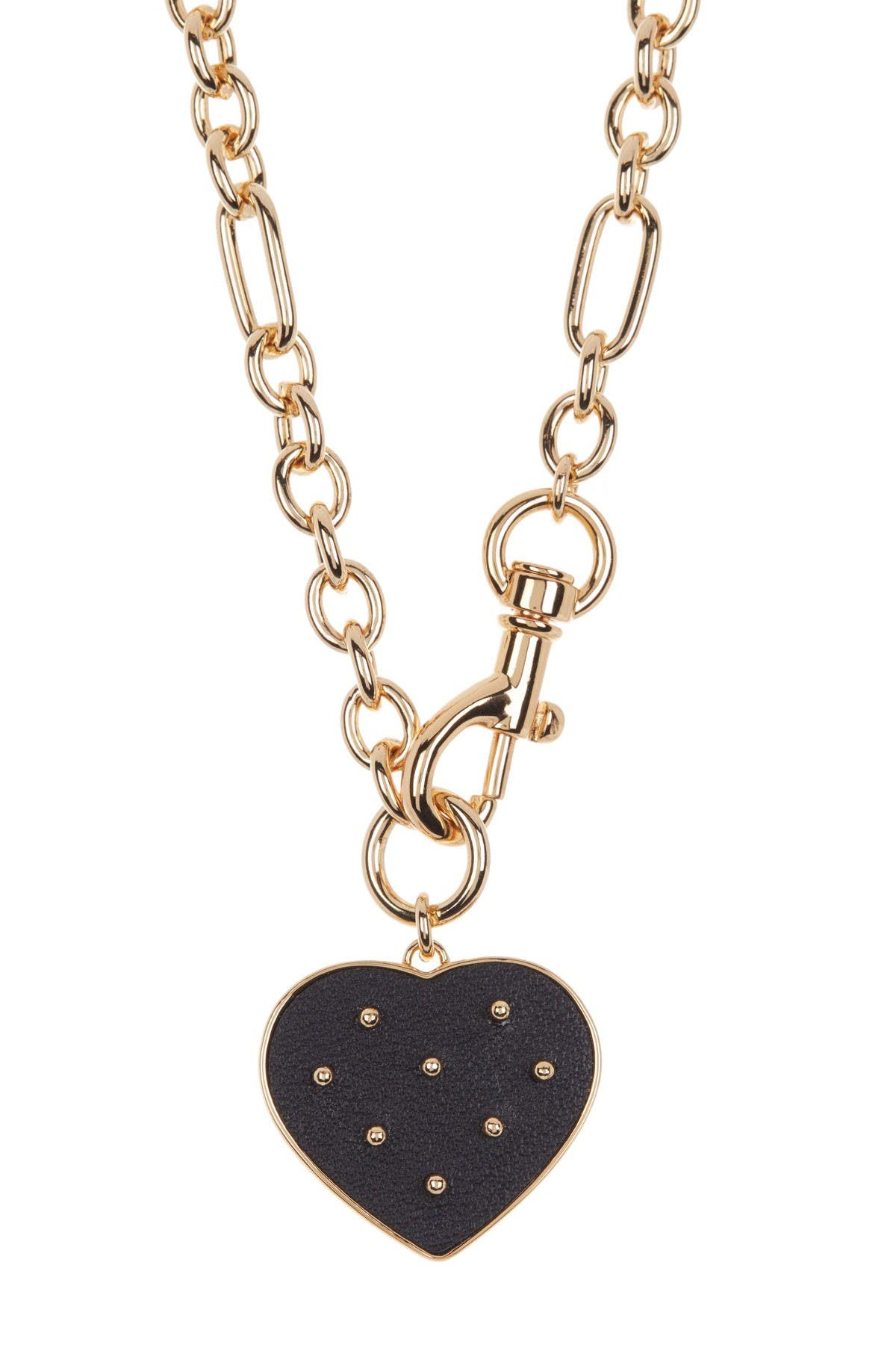 Image of Rebecca Minkoff Studded Leather Heart Pendant Necklace