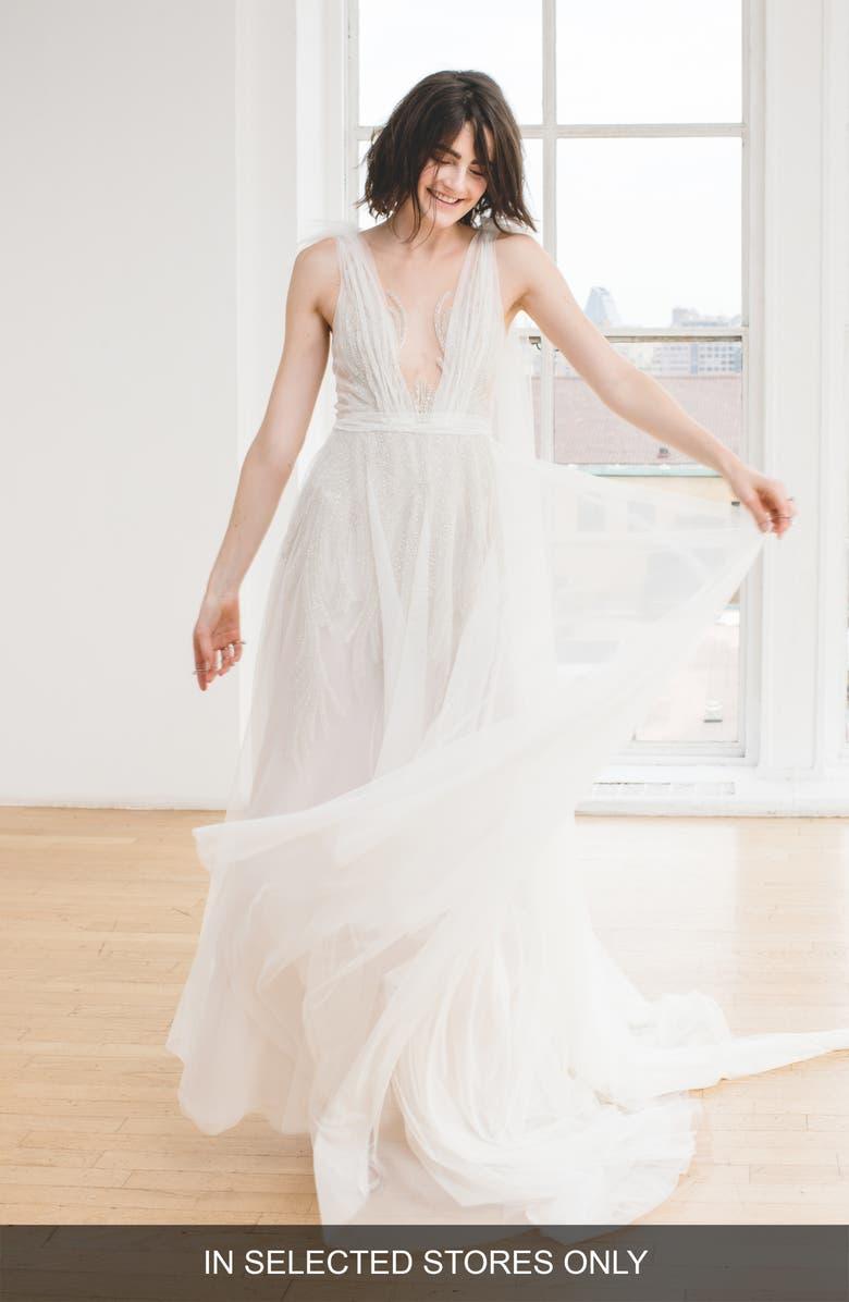 INES BY INES DI SANTO Alyne Beaded V-Neck Wedding Dress, Main, color, IVORY/ IVORY