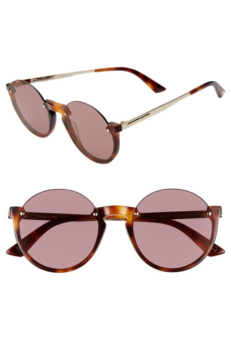 MCQ ALEXANDER MCQUEEN 53mm Semi Rimless Round Sunglasses, Main, color, MEDIUM HAVANA/ PINK