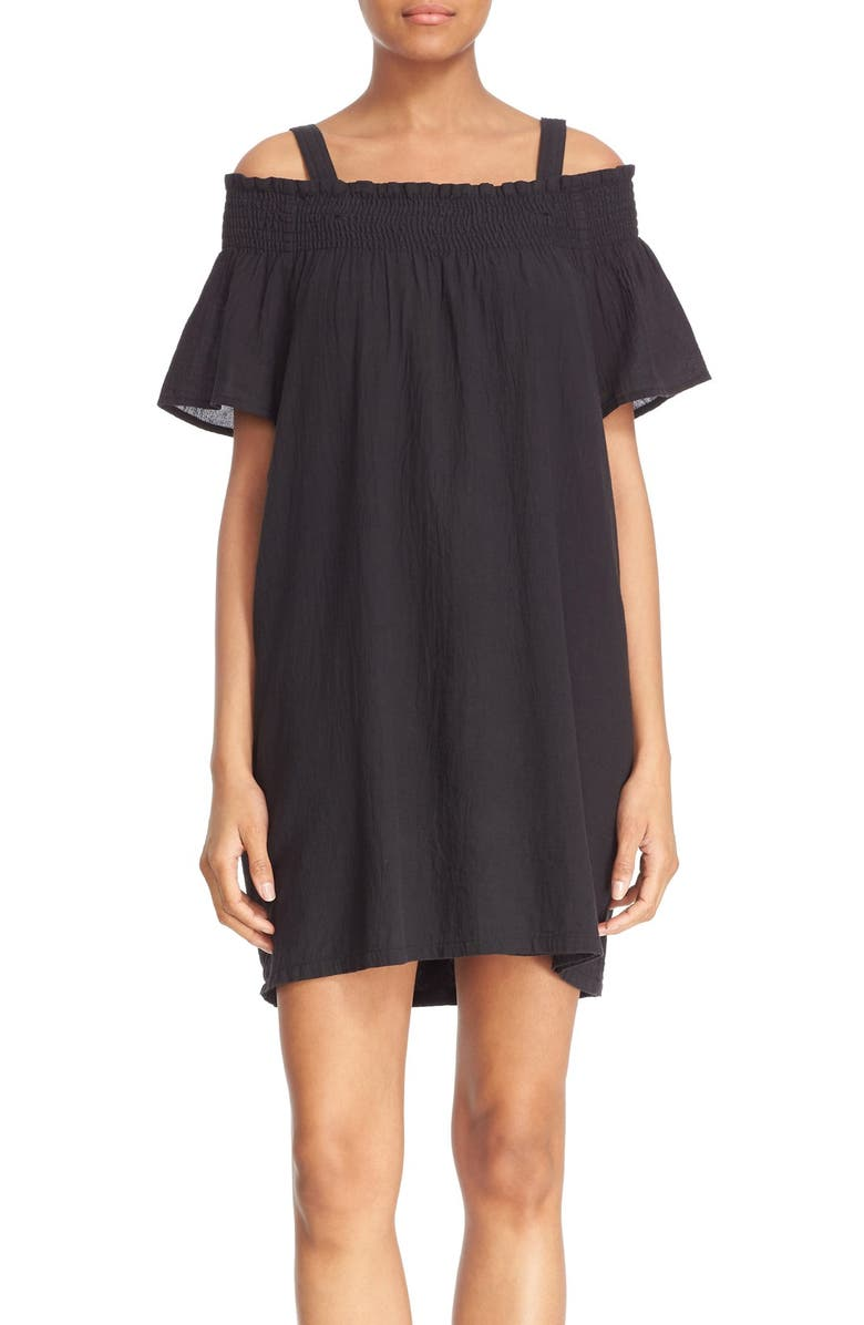 CURRENT/ELLIOTT 'The Madeline' Cold Shoulder Cotton Dress, Main, color, 005