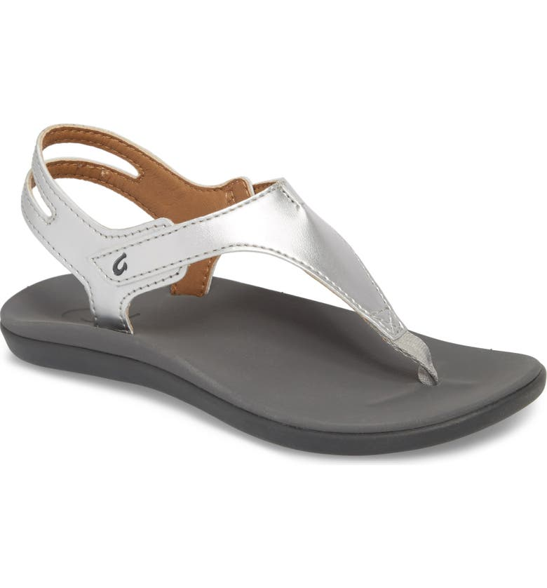 OLUKAI Eheu Sandal, Main, color, SILVER/ CHARCOAL