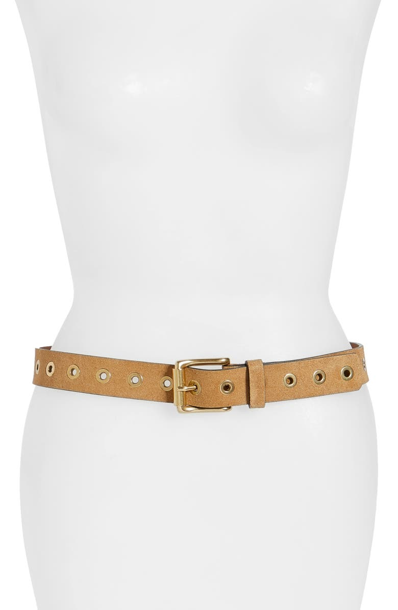 FRYE Grommet Leather Belt, Main, color, 200