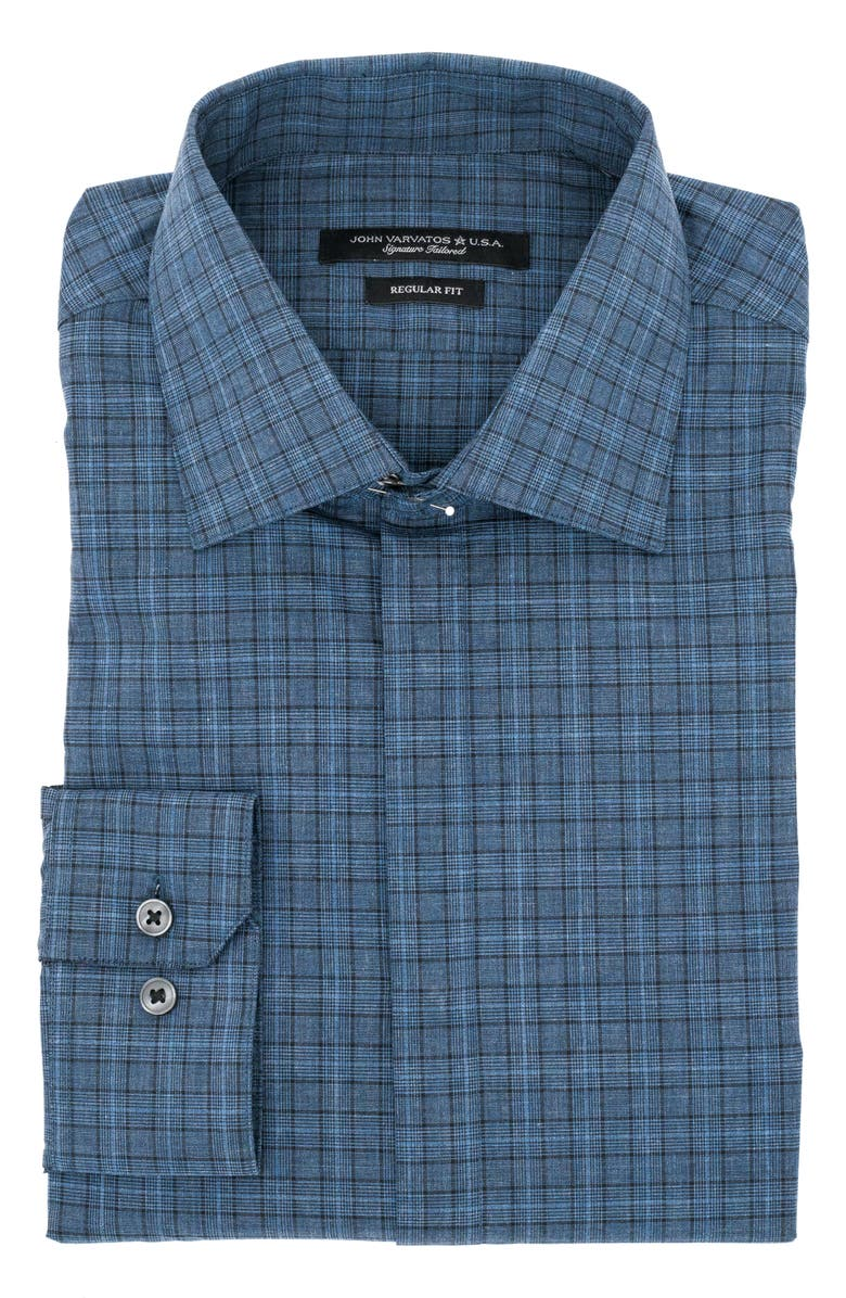 JOHN VARVATOS STAR USA Trim Fit Plaid Dress Shirt, Main, color, BLUE HEATHER