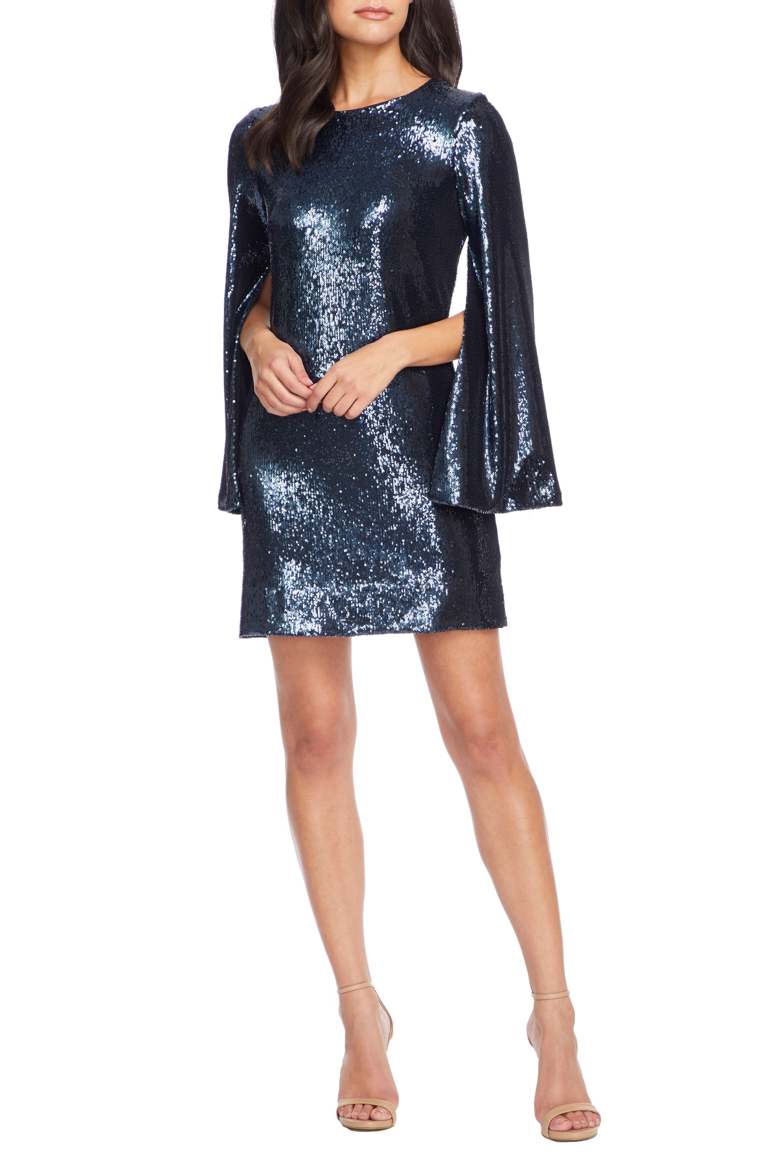 70s Prom, Formal, Evening, Party Dresses Womens Dress The Population Liza Long Cape Sleeve Sequin Minidress Size Medium - Blue $248.00 AT vintagedancer.com