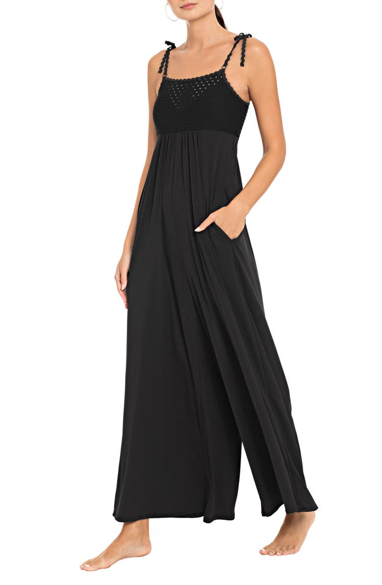 ROBIN PICCONE Chira Jumpsuit Cover-Up, Main, color, BLACK