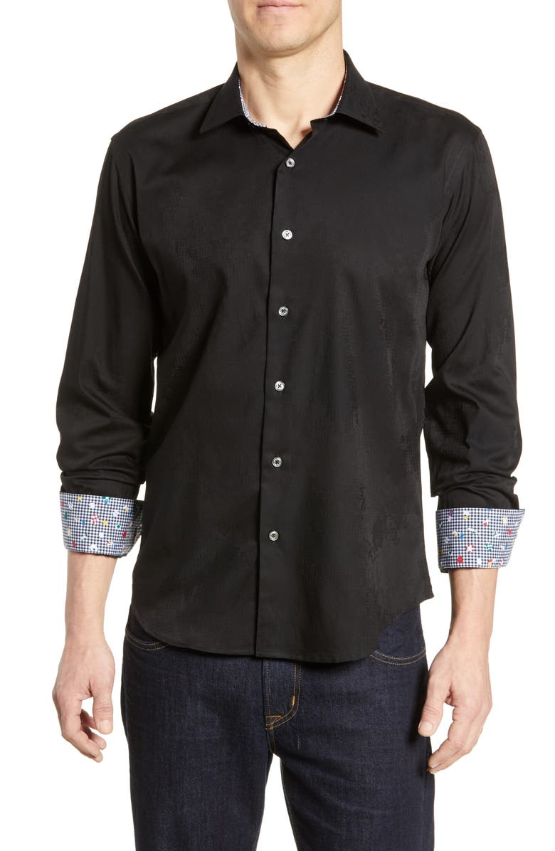 BUGATCHI Shaped Fit Jacquard Sport Shirt, Main, color, BLACK