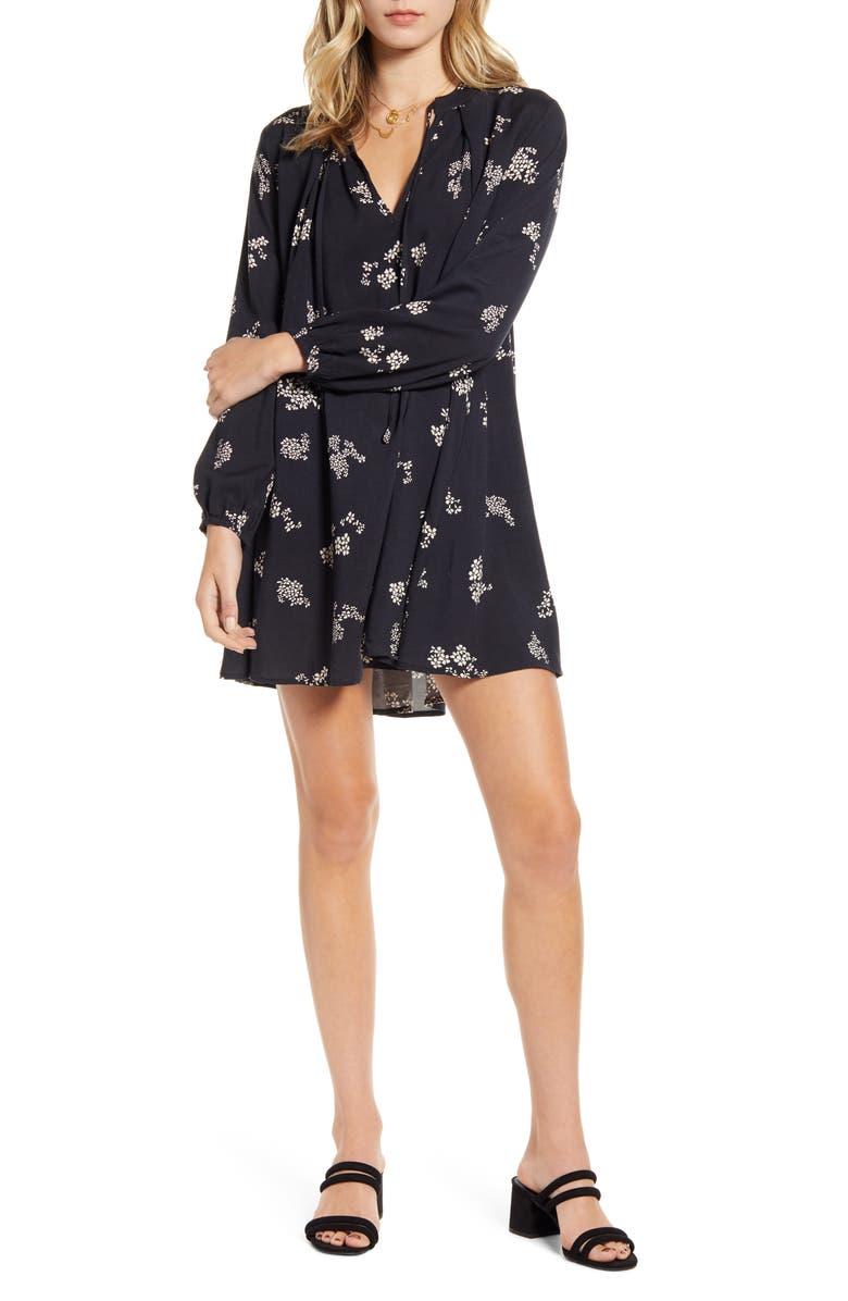 LIRA CLOTHING Gemma Tie Neck Long Sleeve Minidress, Main, color, BLACK