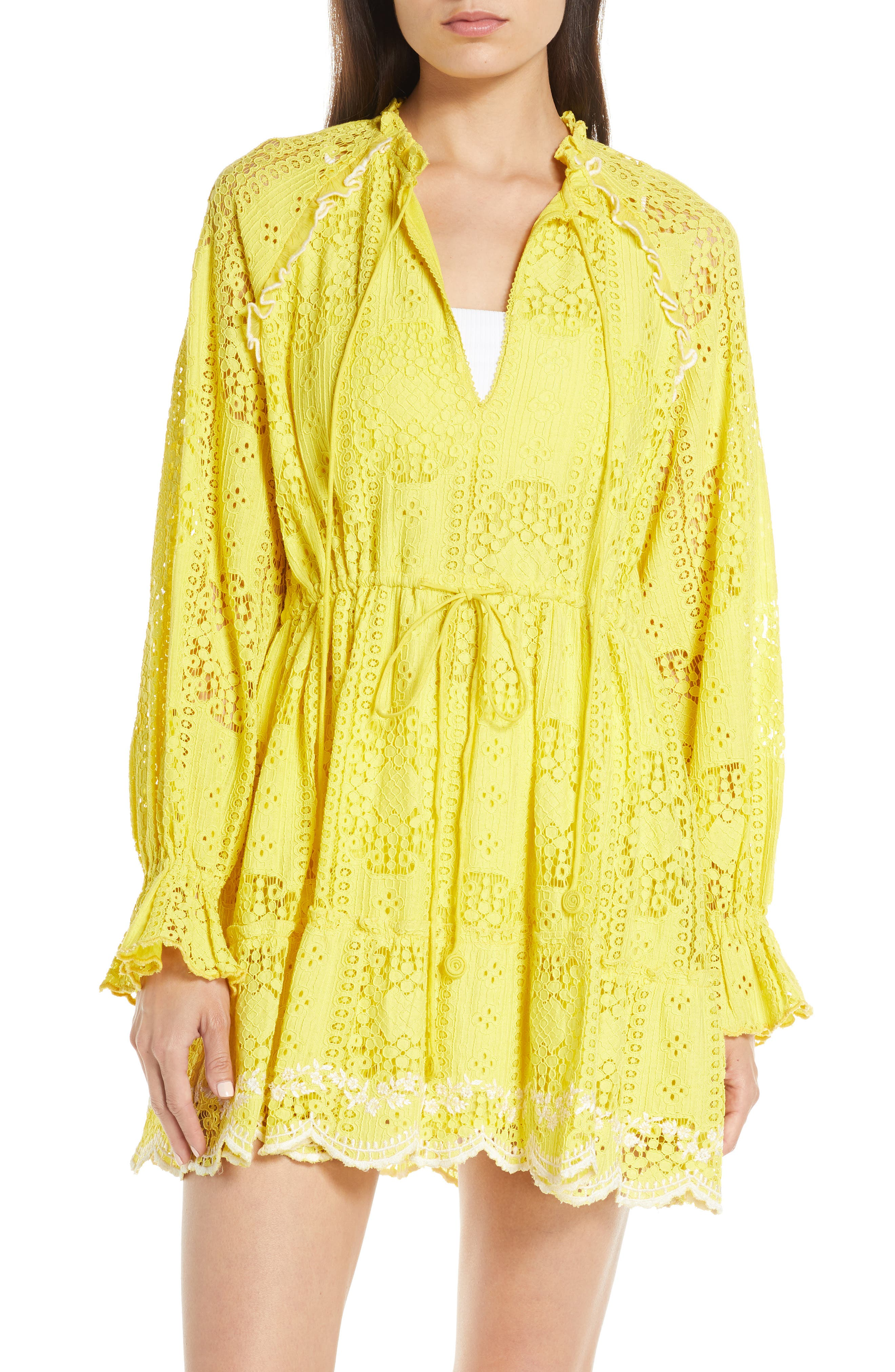 Hemant & Nandita Embroidered Lace Cover-Up Dress, Yellow