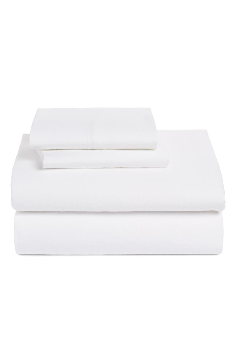 TREASURE & BOND Linen & Cotton Sheet Set, Main, color, WHITE
