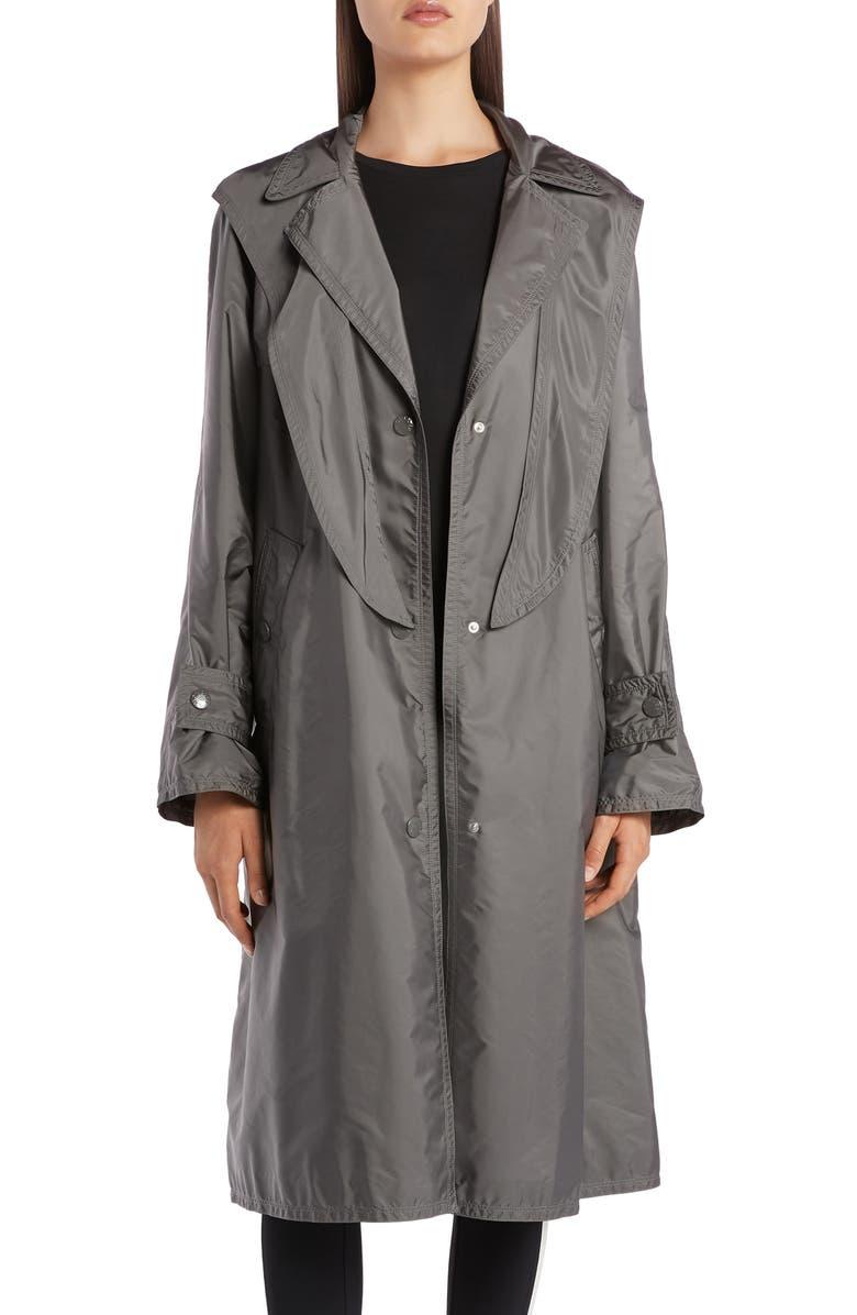 MONCLER Vanille Tie Hood Water Resistant Trench Coat, Main, color, GREY