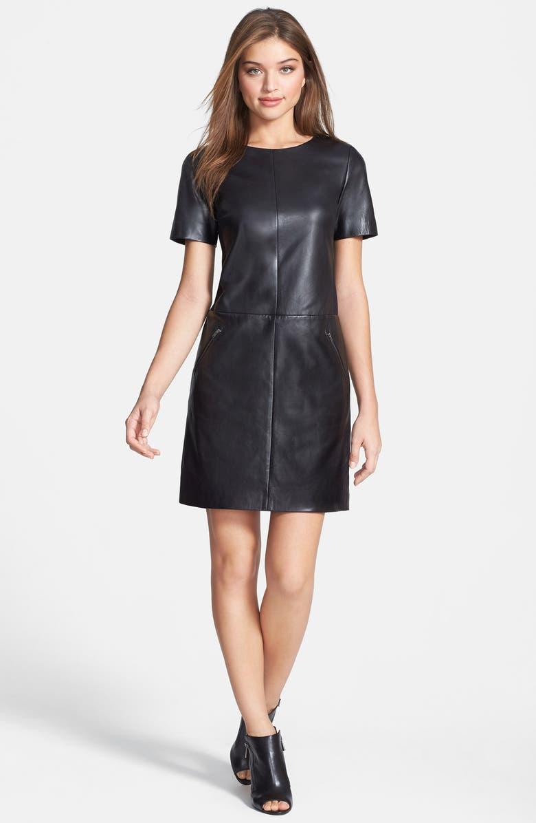 HALOGEN<SUP>®</SUP> Leather & Ponte Knit Shift Dress, Main, color, 001
