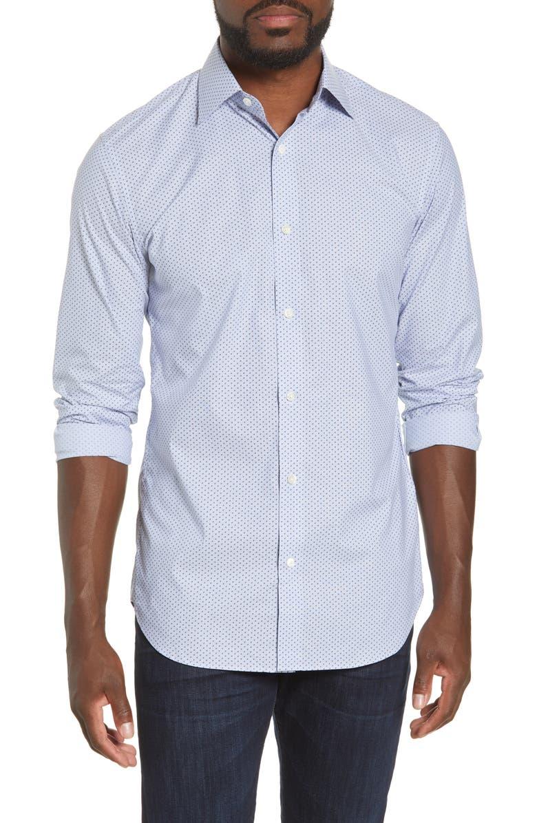 BONOBOS Trim Fit Geo Print Stretch Cotton Dress Shirt, Main, color, POWELL SHY VIOLET