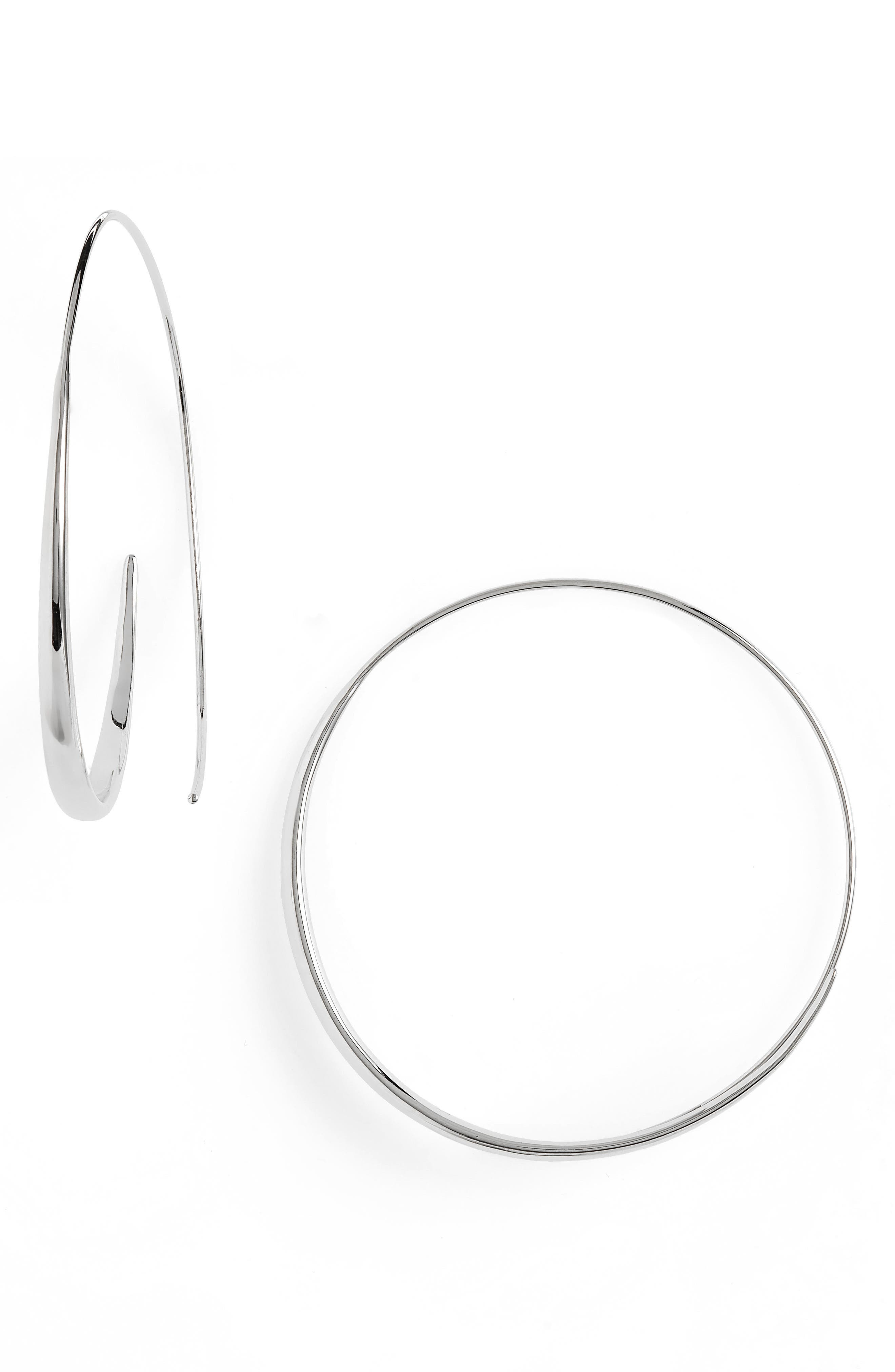Extra Large Ear Loop Earrings, Main, color, 925 STERLING SILVER