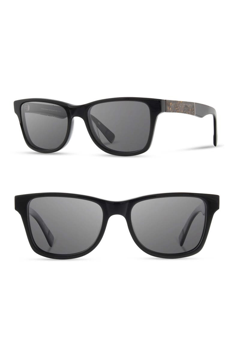 SHWOOD 'Canby' 54mm Acetate & Wood Sunglasses, Main, color, BLACK/ PINECONE/ GREY