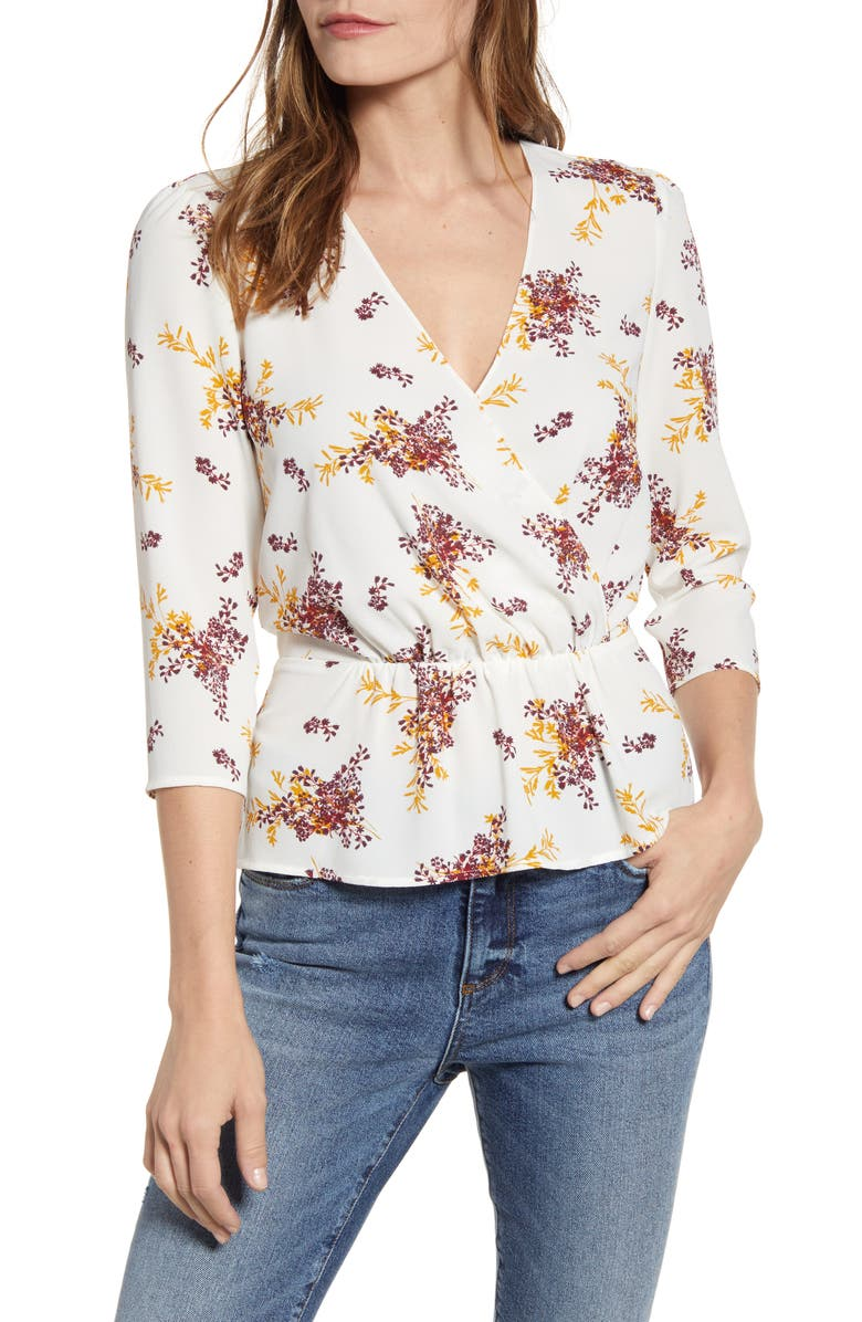 1.STATE Wild Country Blooms Peplum Blouse, Main, color, SOFT ECRU