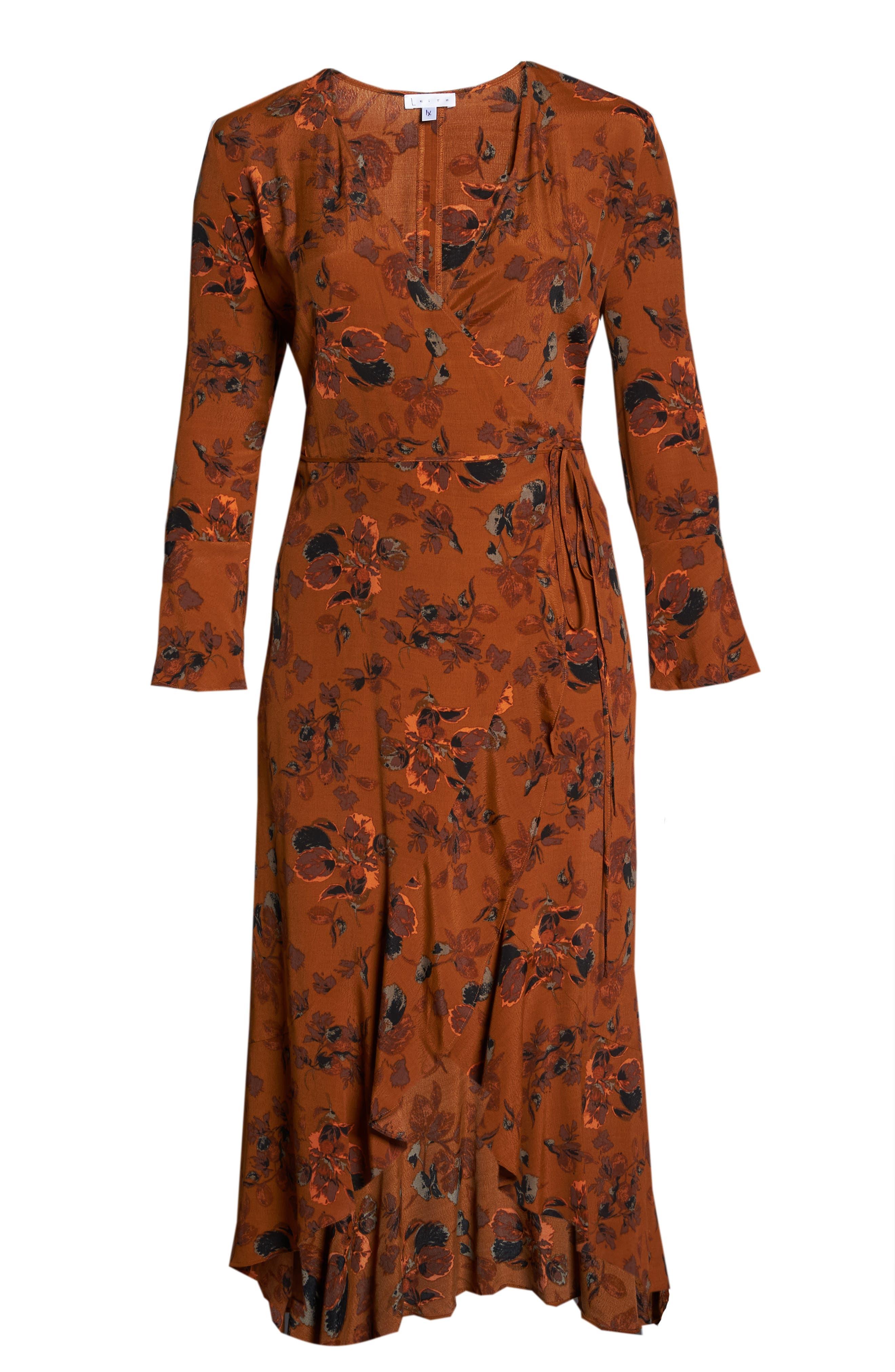 ,                             Bell Sleeve Wrap Midi Dress,                             Alternate thumbnail 12, color,                             RUST CARMEL FALL FOLIAGE
