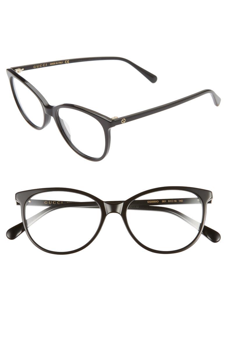 GUCCI 51mm Cat Eye Optical Glasses, Main, color, BLACK