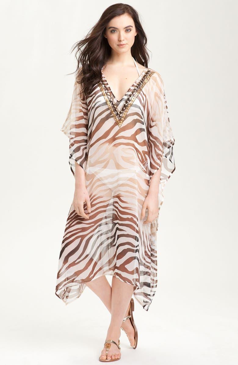 BRAZEN 'Zebra' Ombré Caftan, Main, color, 200