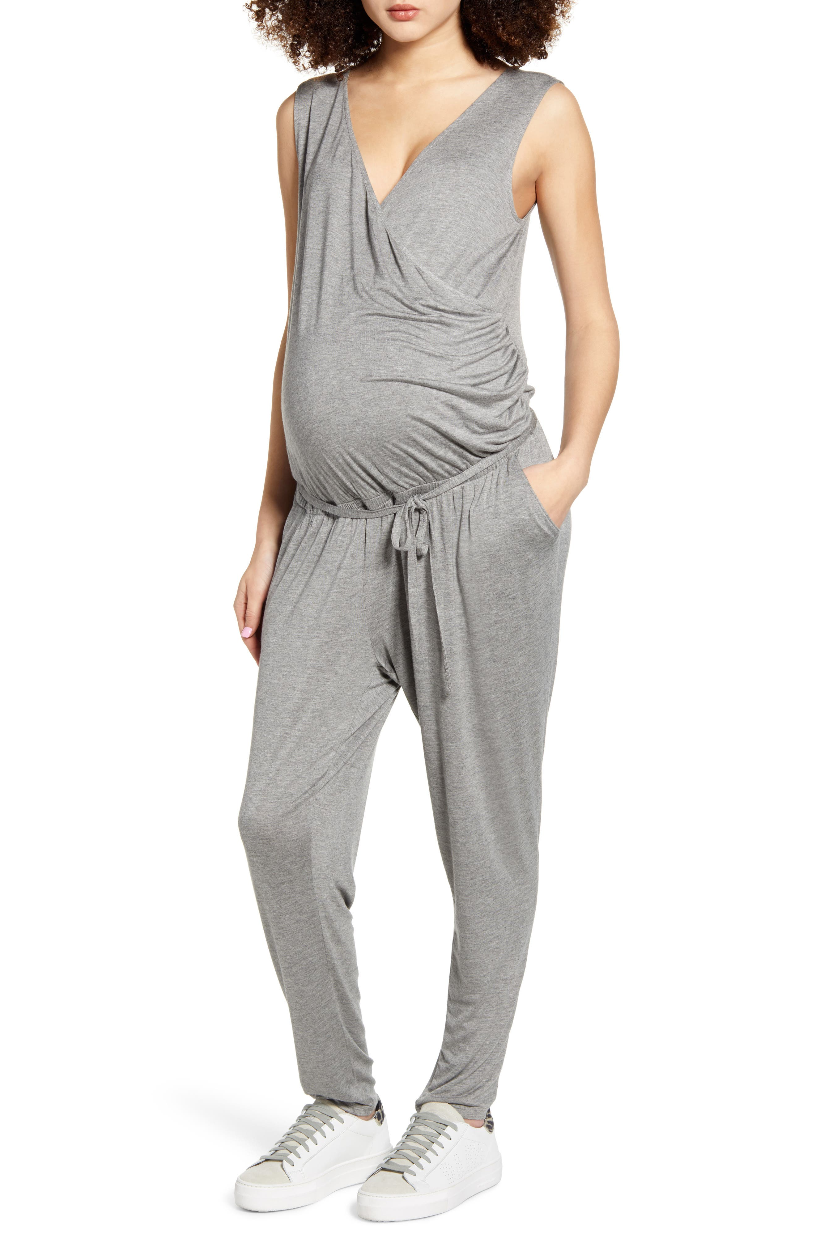 Belted Jersey Maternity Jumpsuit