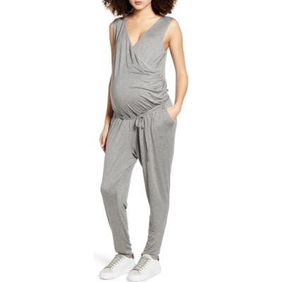 Fourteenth Place Belted Jersey Maternity Jumpsuit, Grey