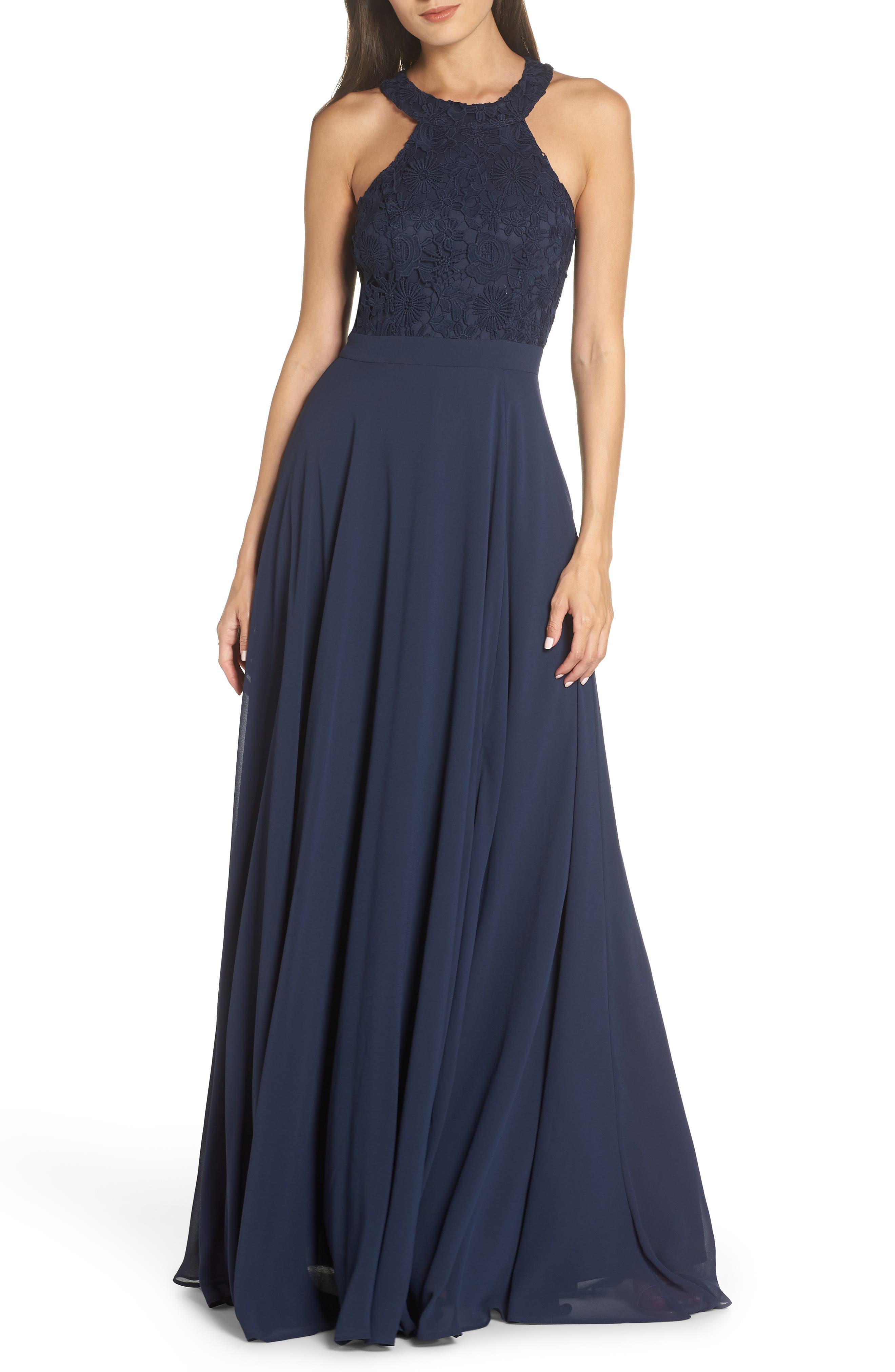 Lulus Love Poem Lace Halter Gown, Blue