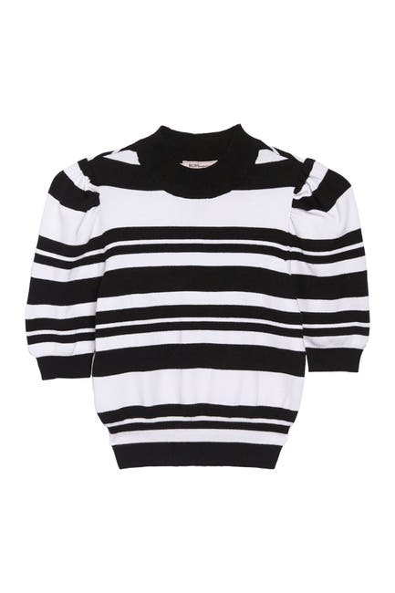 Image of BCBGeneration Striped Puff Sleeve Pullover Sweater