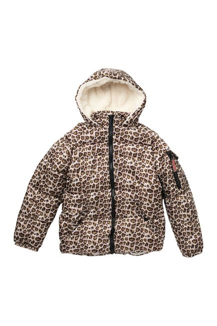 Image of Kensie Girl Leopard Print Fleece Lined Quilted Puffer Jacket