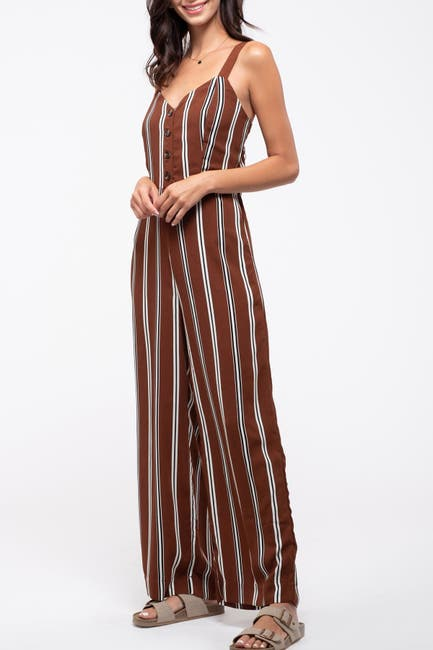 Image of Blu Pepper Striped Button Jumpsuit
