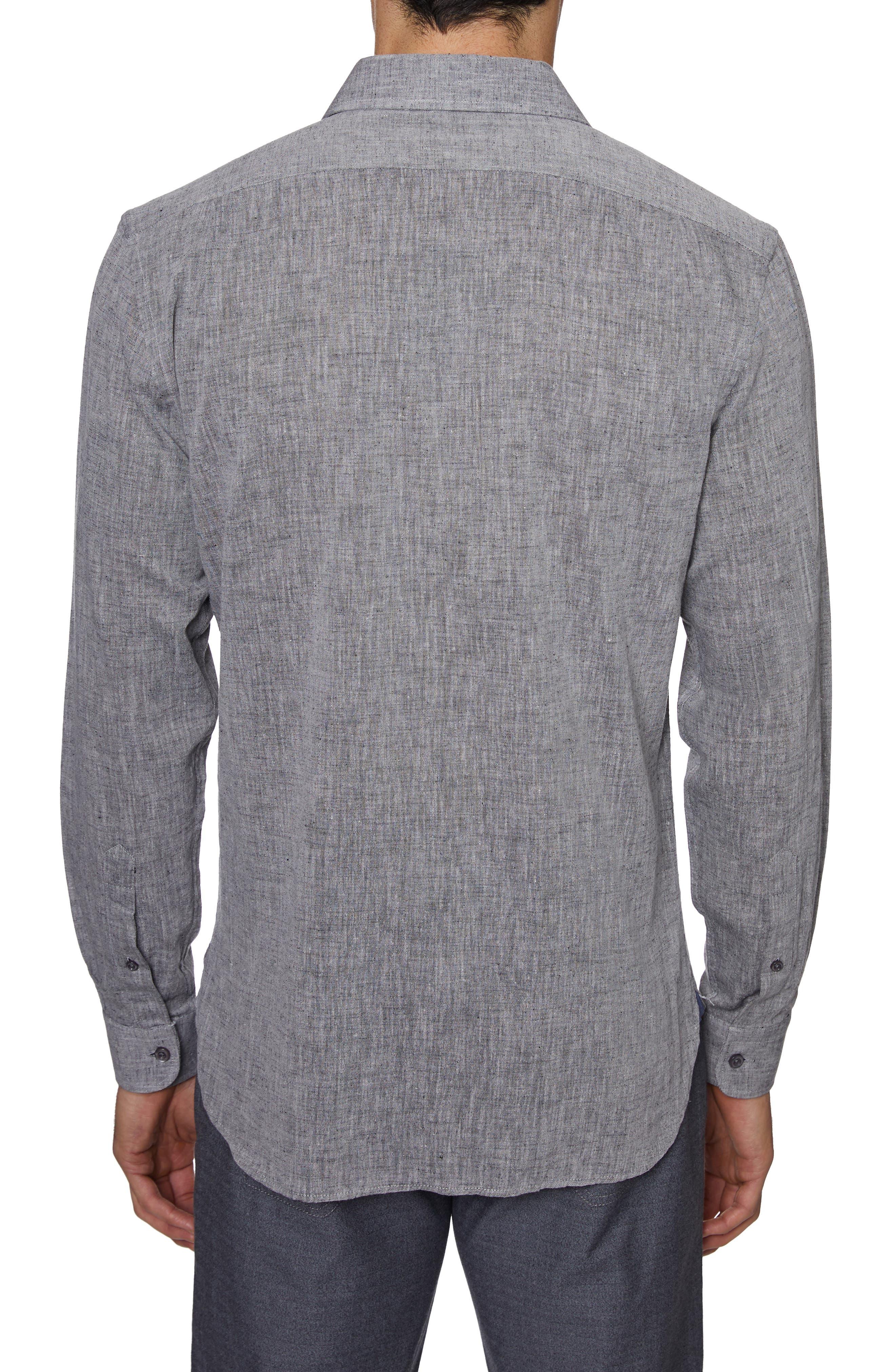 ,                             Regular Fit Cotton & Linen Sport Shirt,                             Alternate thumbnail 3, color,                             GREY