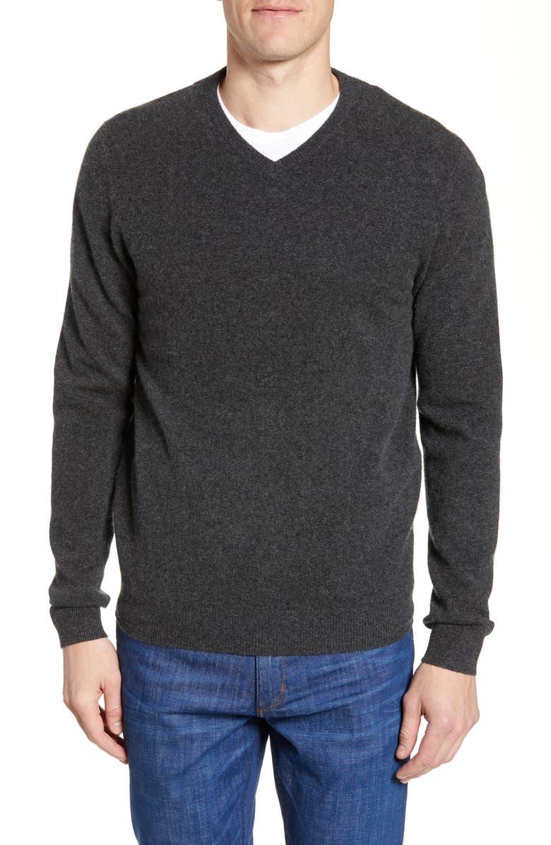 NORDSTROM MEN'S SHOP Cashmere V-Neck Sweater, Main, color, GREY DARK CHARCOAL HEATHER