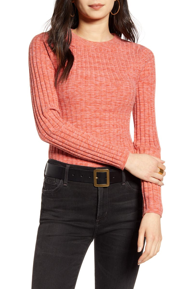 TREASURE & BOND Marled Skivvy Ribbed Sweater, Main, color, CORAL FADED SPACEDYE COMBO