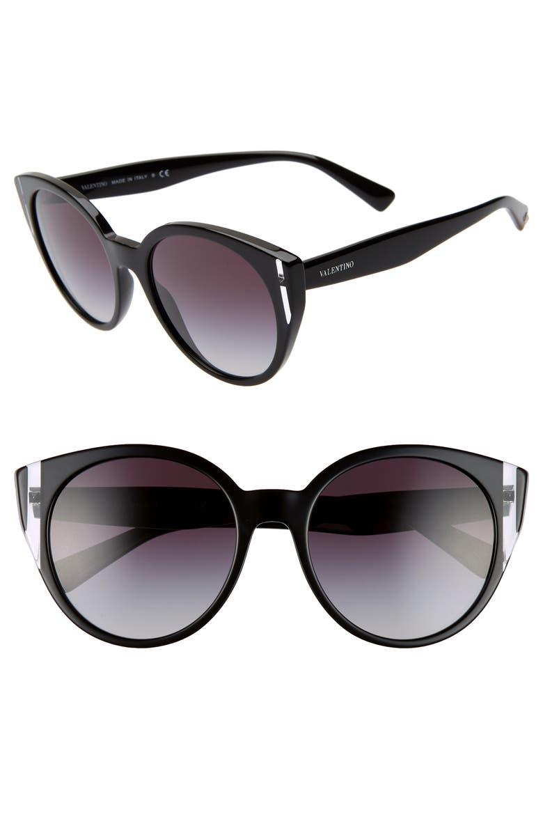 VALENTINO 55mm Cat Eye Sunglasses, Main, color, BLACK CRYSTAL GRADIENT