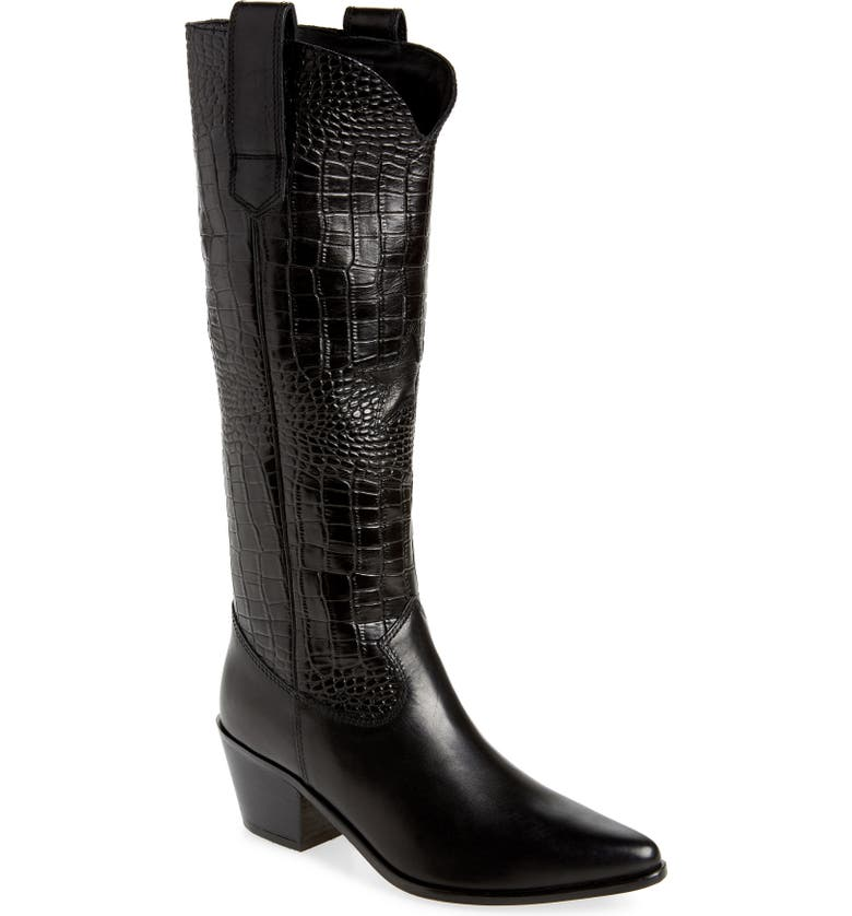 SEYCHELLES Admirable Knee High Boot, Main, color, BLACK LEATHER CROC PRINT