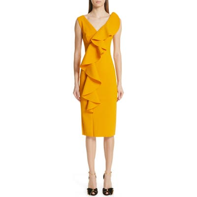 Chiara Boni La Petite Robe Janka Ruffle Midi Cocktail Dress, 50 IT - Yellow