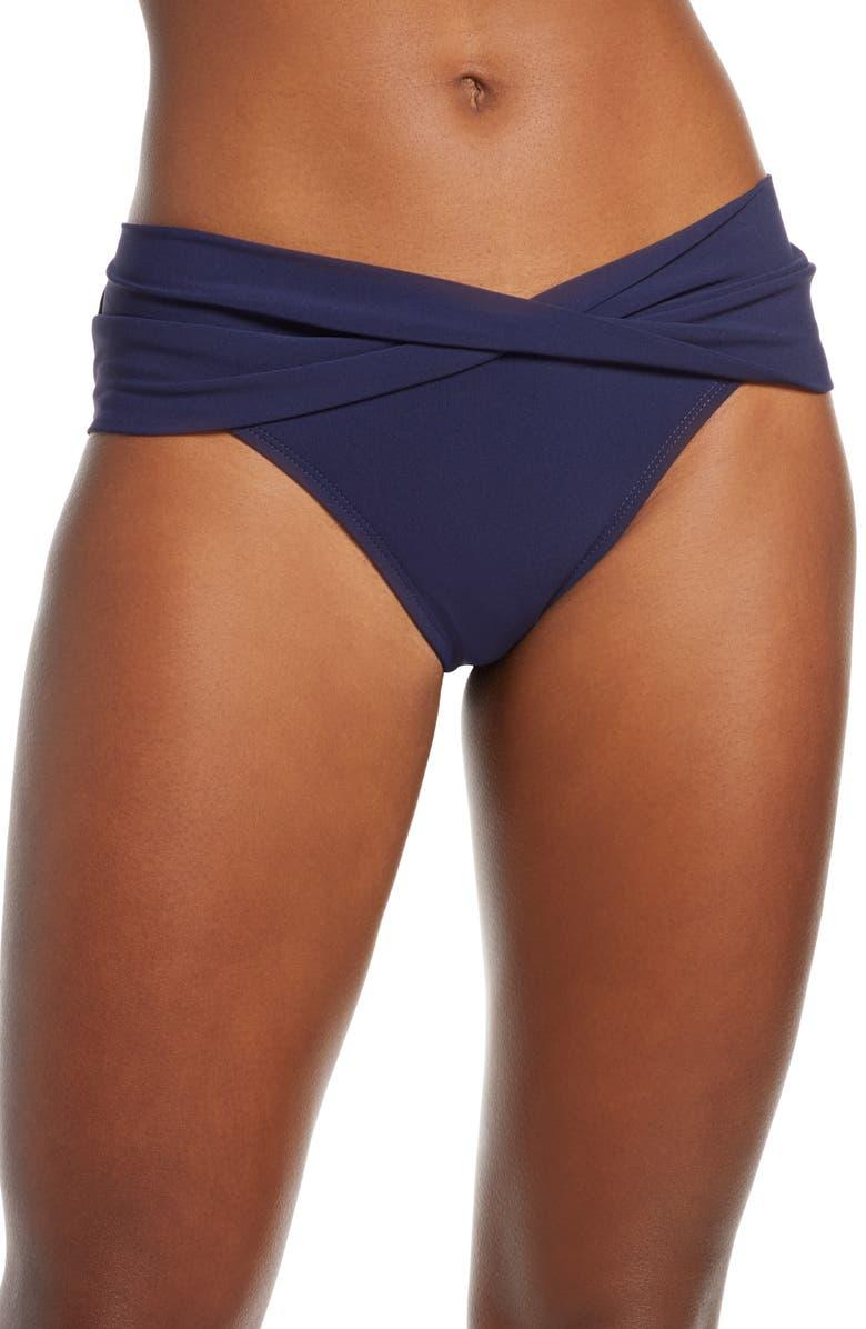 ROBIN PICCONE Ava Twist Hipster Bikini Bottoms, Main, color, NAVY
