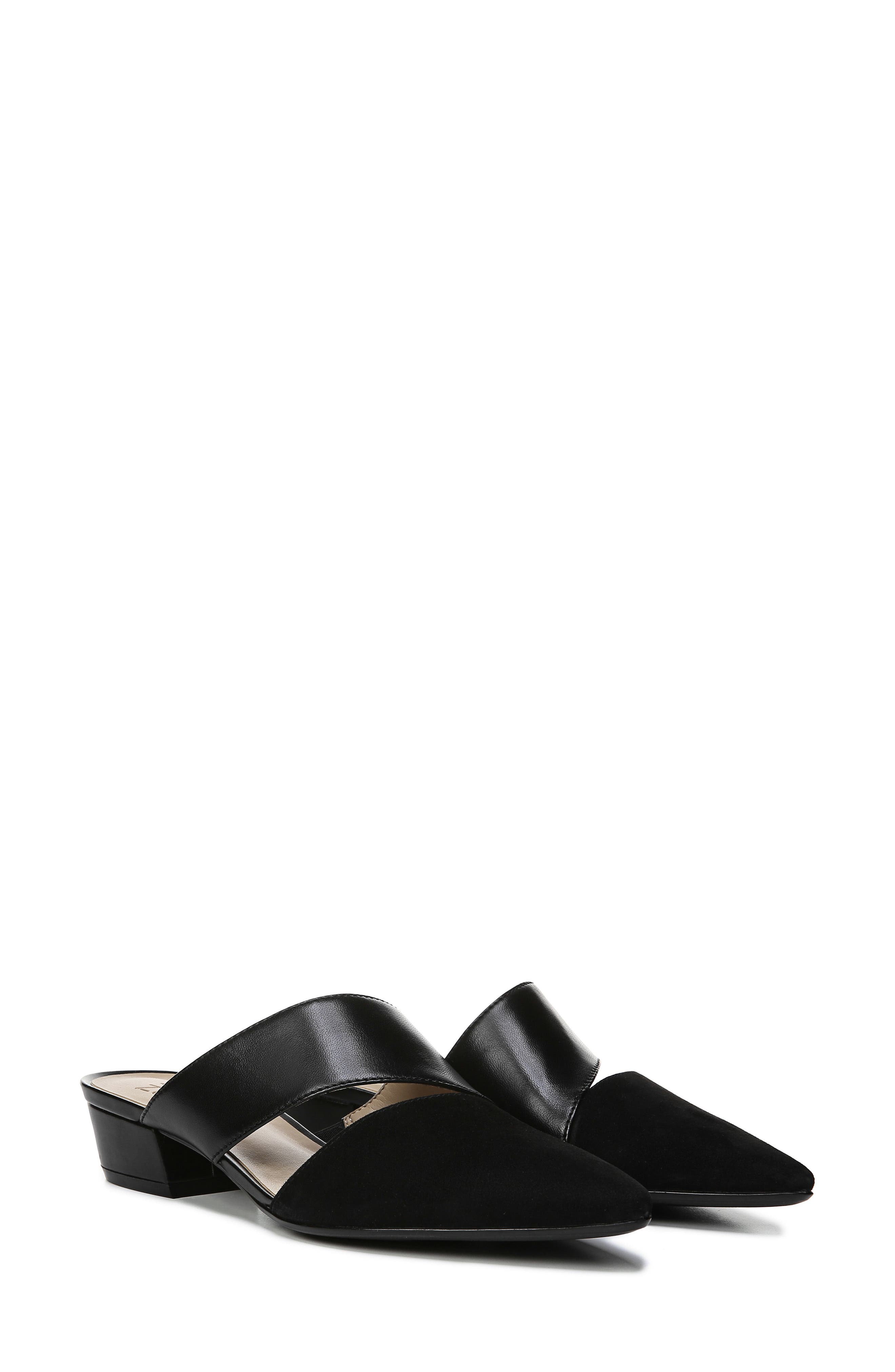 ,                             Bev Pointy Toe Mule,                             Alternate thumbnail 8, color,                             BLACK SUEDE/ LEATHER