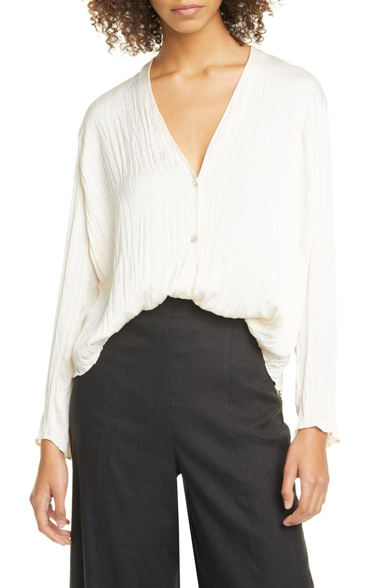 VINCE Crushed Satin V-Neck Blouse, Main, color, CHIFFON