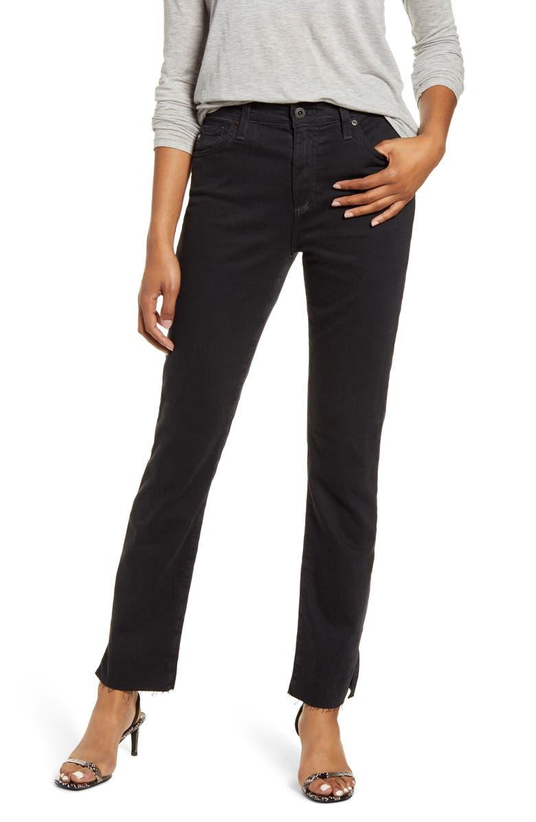AG Mari Side Slit Raw Hem Jeans, Main, color, ALTERED BLACK